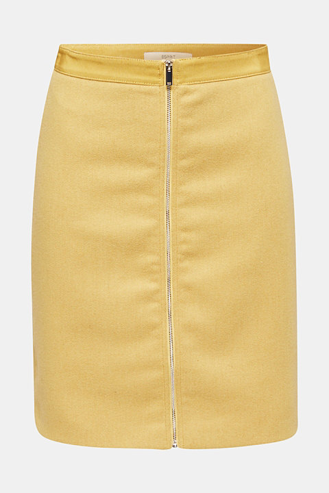 With wool: skirt with a front zip