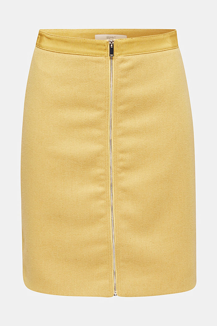 With wool: skirt with a front zip, YELLOW, detail image number 6
