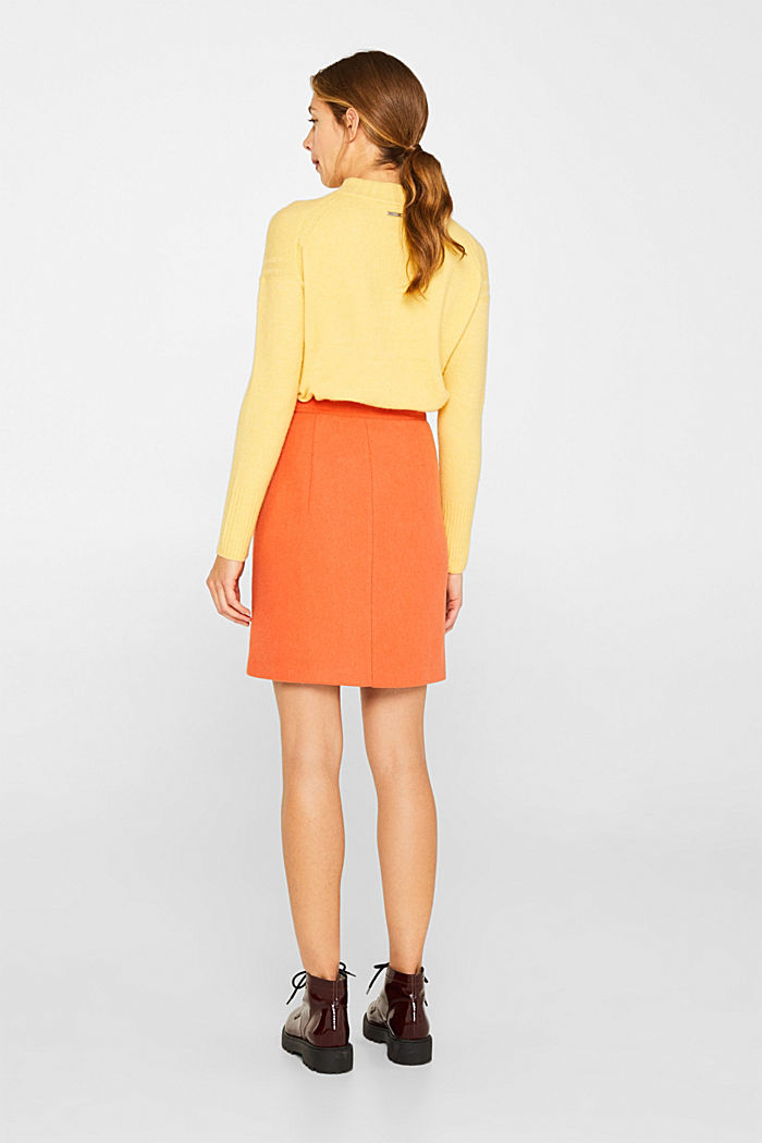 With wool: skirt with a front zip, BURNT ORANGE, detail image number 3