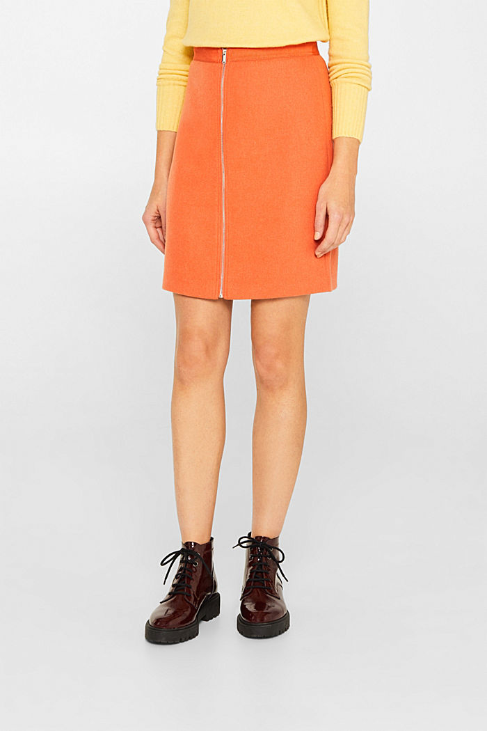 With wool: skirt with a front zip, BURNT ORANGE, detail image number 5