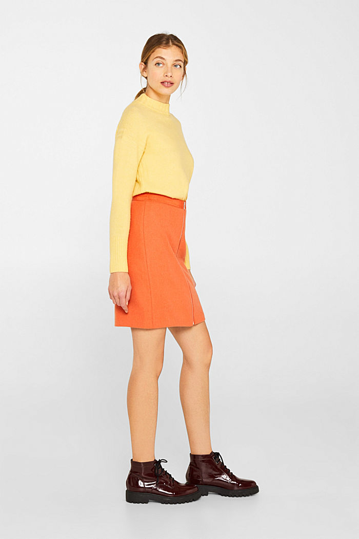 With wool: skirt with a front zip, BURNT ORANGE, detail image number 1