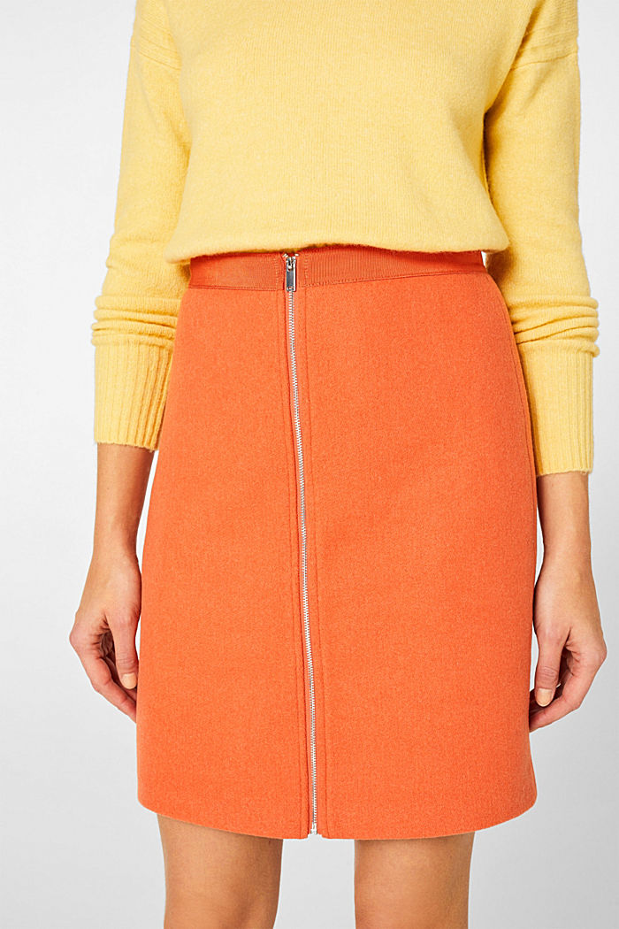 With wool: skirt with a front zip, BURNT ORANGE, detail image number 2