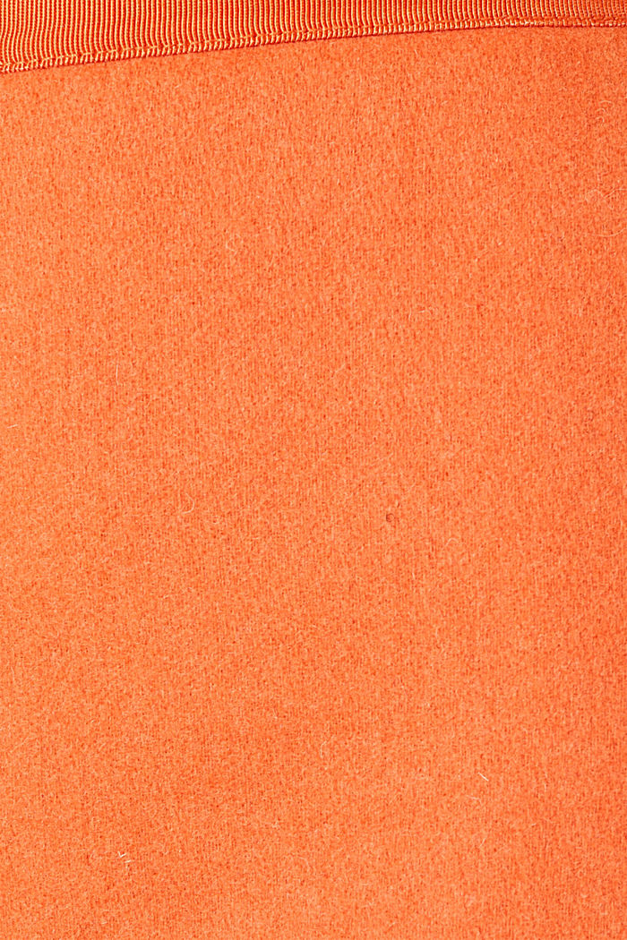 With wool: skirt with a front zip, BURNT ORANGE, detail image number 4