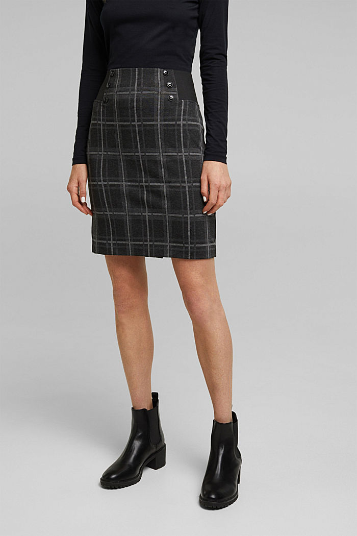 Mini skirt made of checked jersey, DARK GREY, detail image number 0