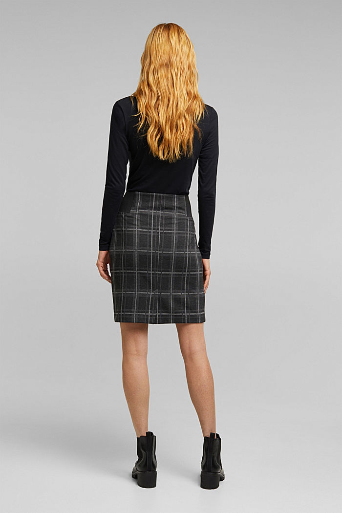 Mini skirt made of checked jersey, DARK GREY, detail image number 3