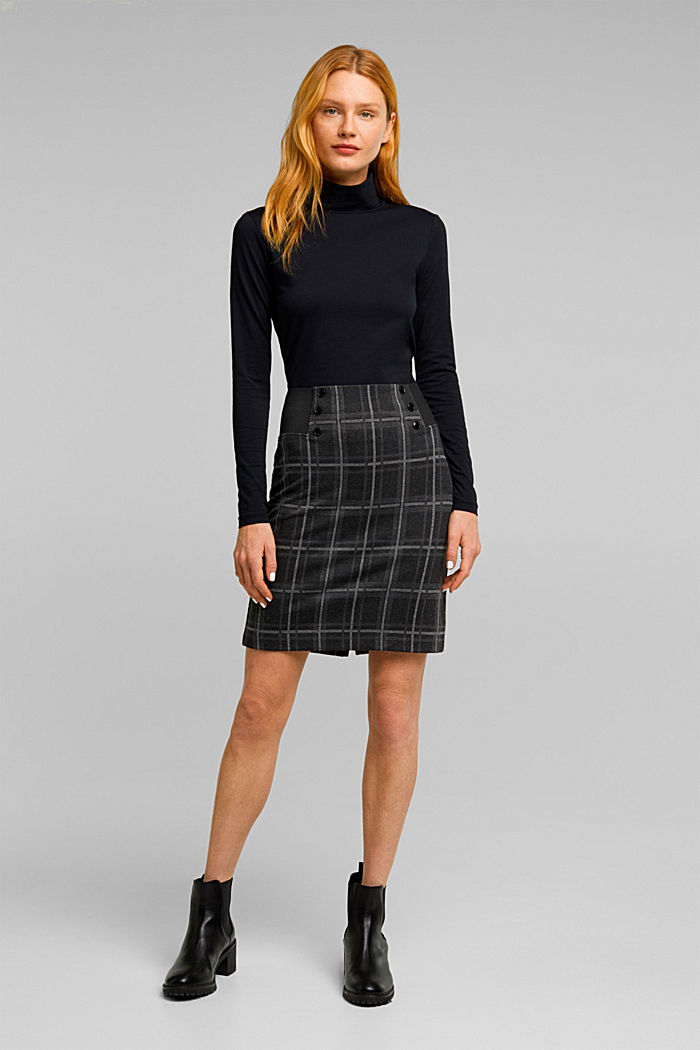 Mini skirt made of checked jersey, DARK GREY, detail image number 7