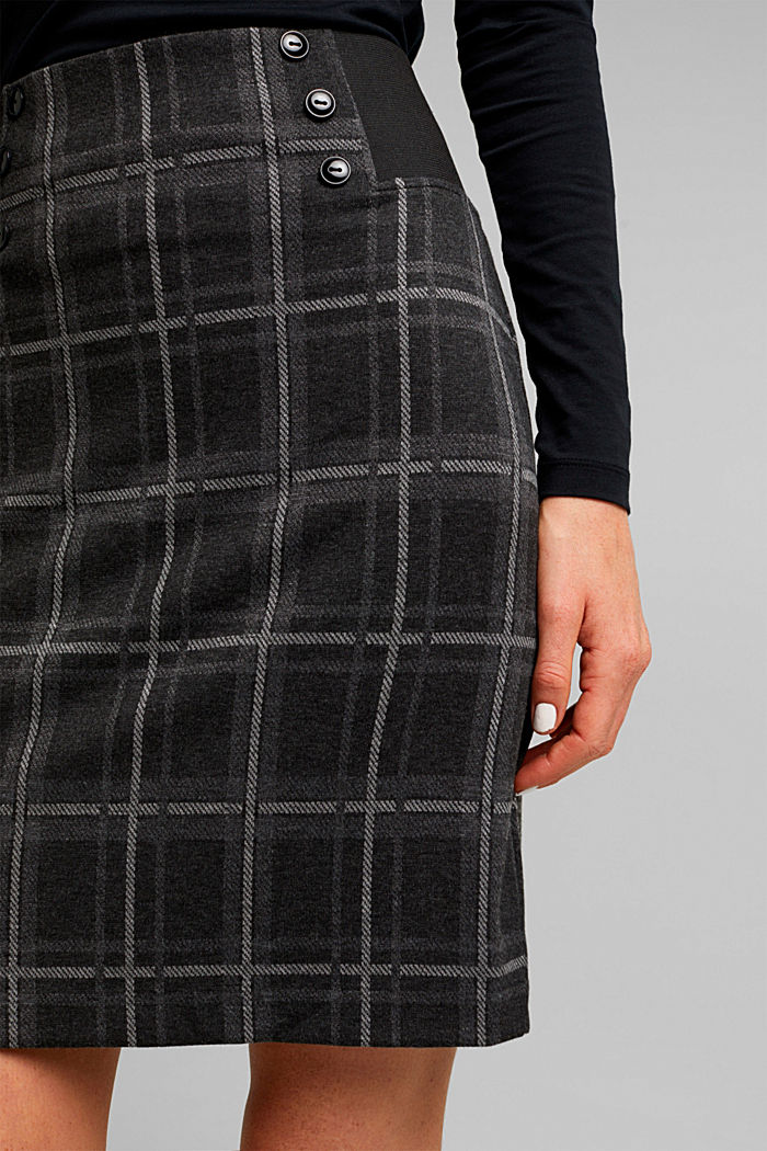 Mini skirt made of checked jersey, DARK GREY, detail image number 2