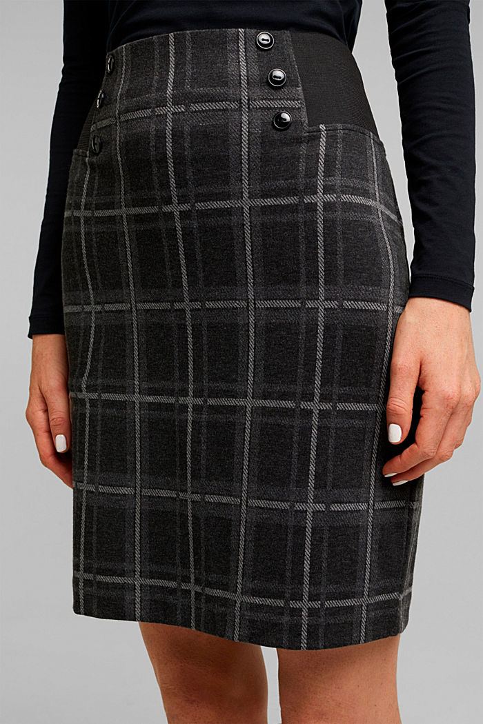 Mini skirt made of checked jersey, DARK GREY, detail image number 5
