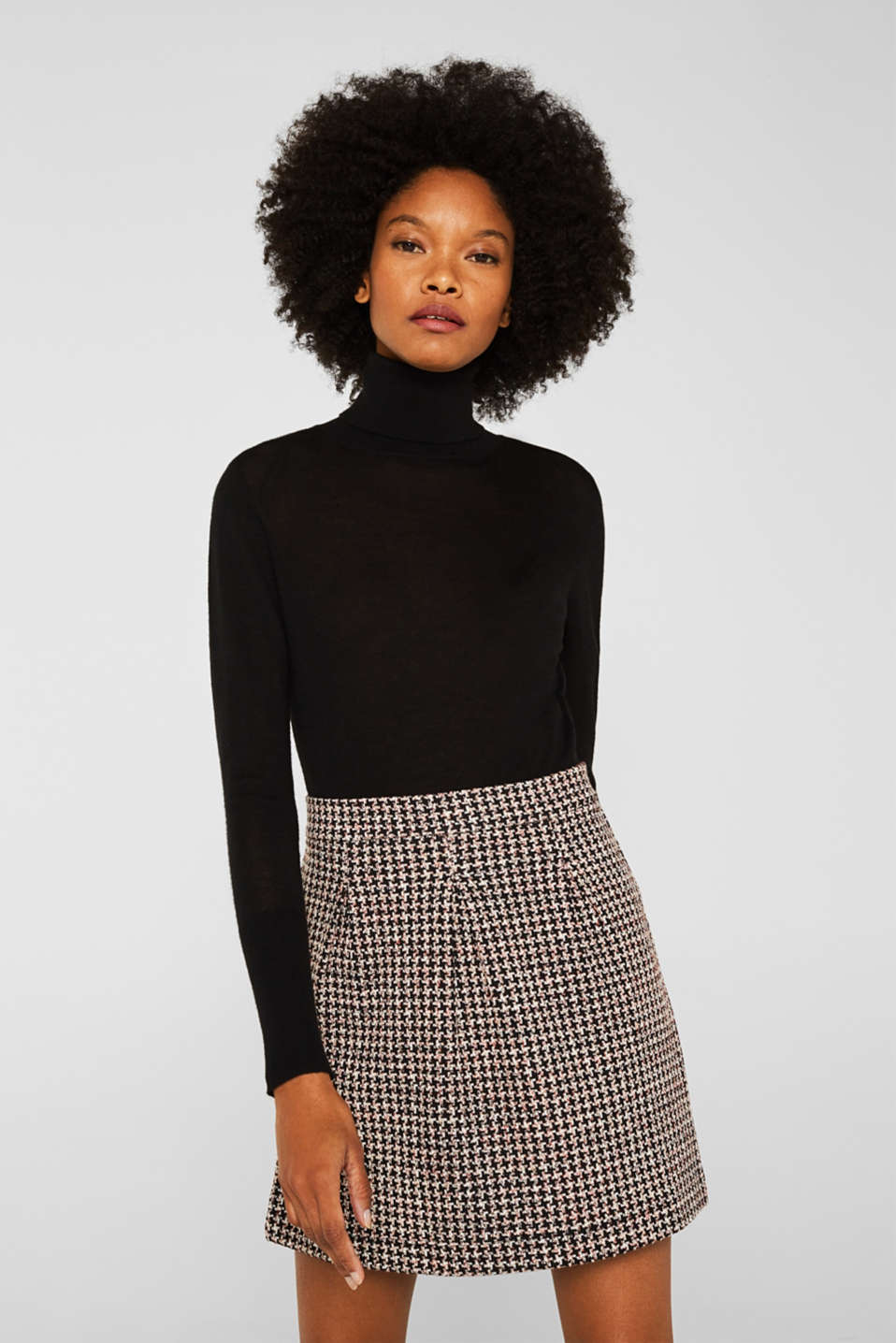 Esprit - Houndstooth skirt in a tulip shape