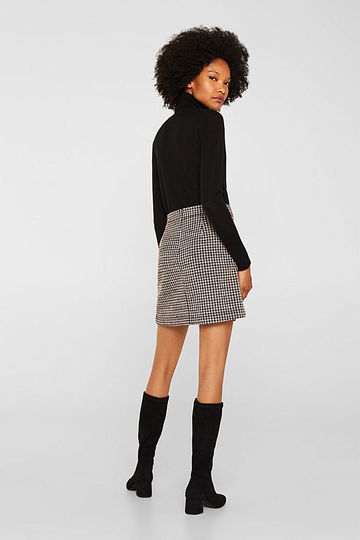 Houndstooth skirt in a tulip shape, BLACK, detail image number 2