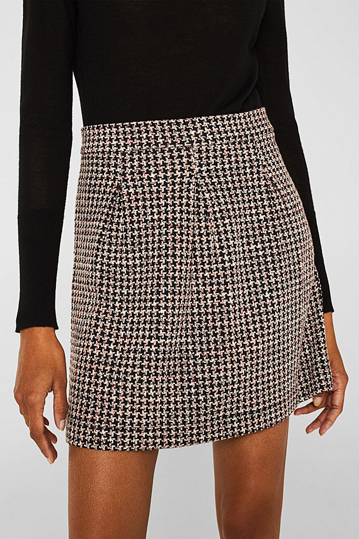 Houndstooth skirt in a tulip shape, BLACK, detail image number 4