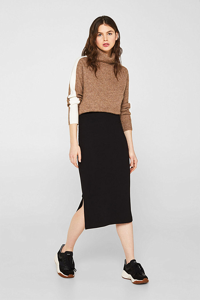 Slim-fitting stretch jersey skirt, BLACK, detail image number 1