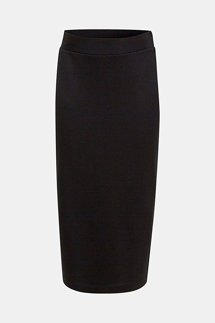Slim-fitting stretch jersey skirt, BLACK, detail image number 6
