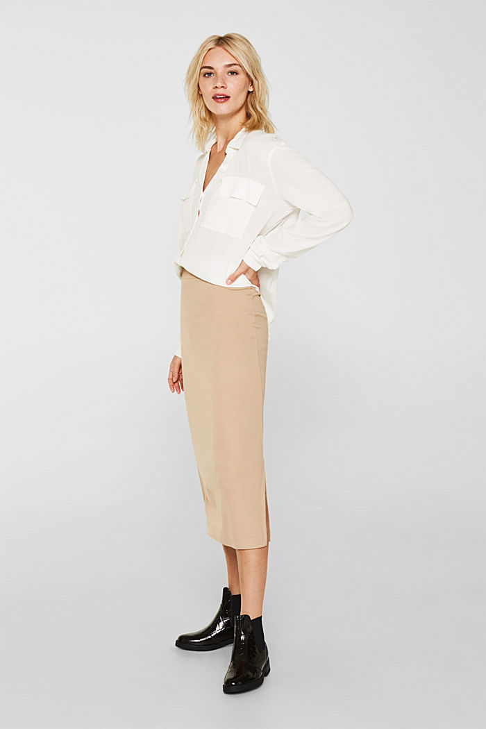Slim-fitting stretch jersey skirt, CAMEL, detail image number 0