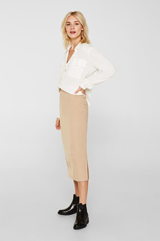 Slim-fitting stretch jersey skirt