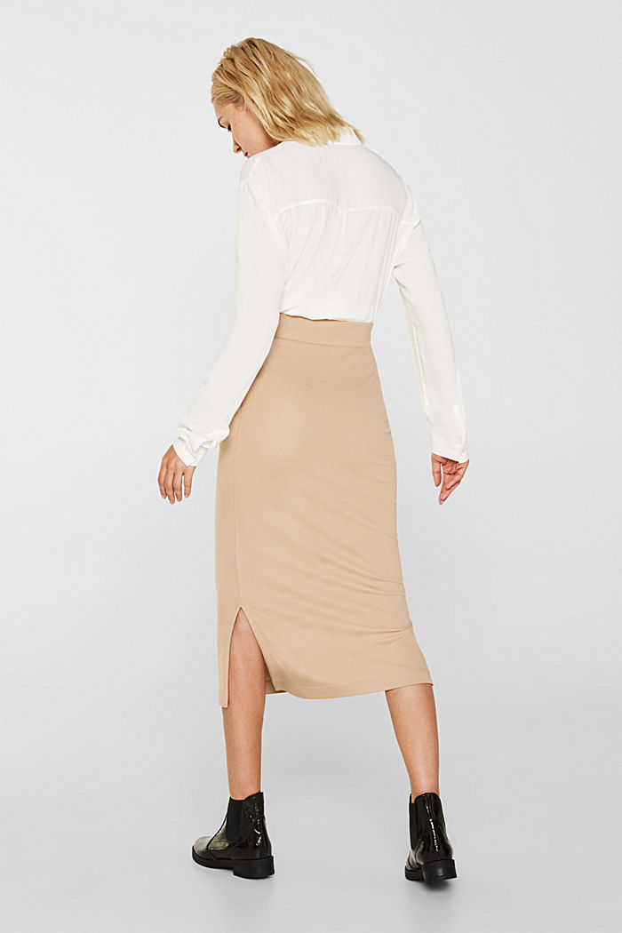 Slim-fitting stretch jersey skirt, CAMEL, detail image number 2