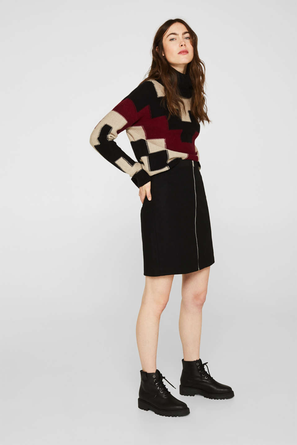 Esprit - With wool: Skirt with a zip