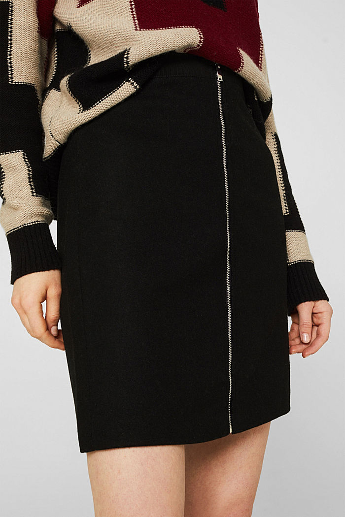 With wool: Skirt with a zip, BLACK, detail image number 2