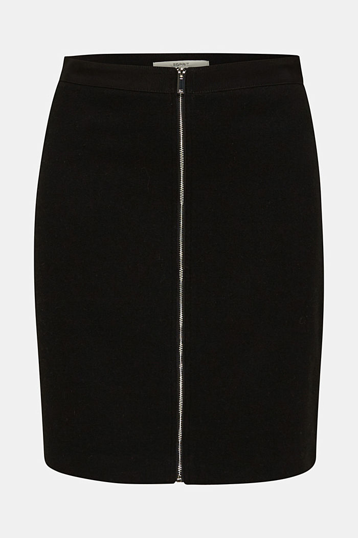 With wool: Skirt with a zip, BLACK, detail image number 6