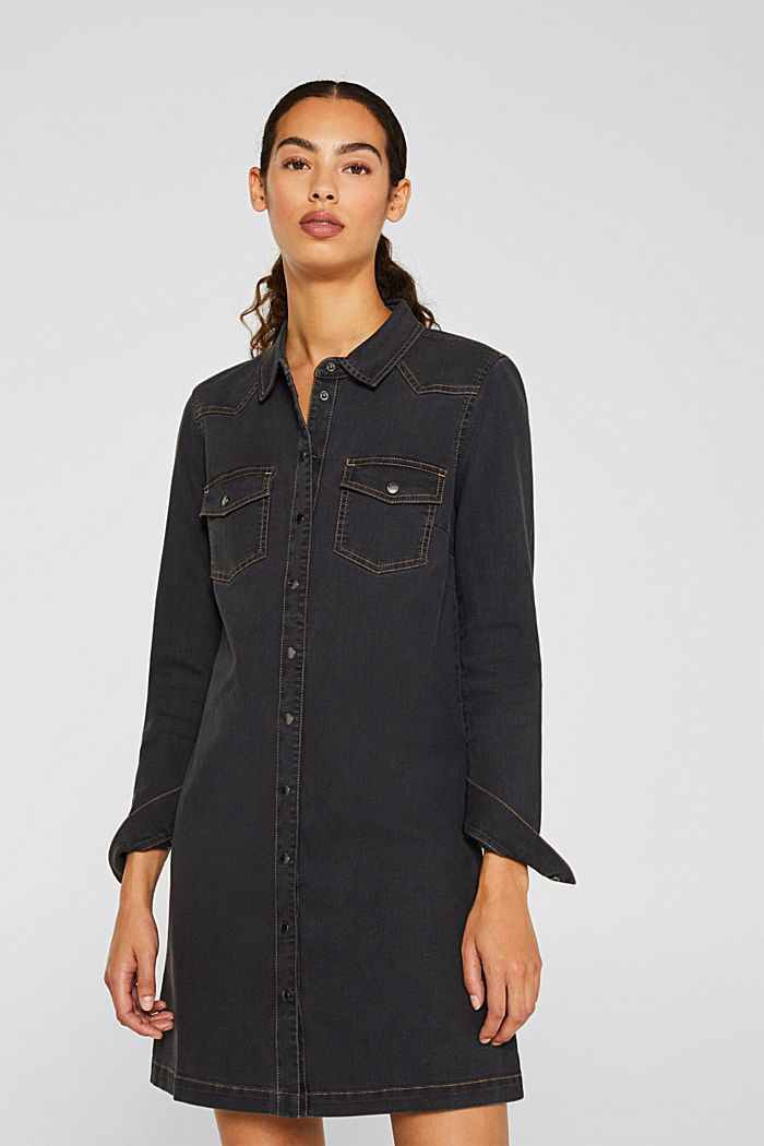 Denim dress with contrast stitching, GREY DARK WASHED, detail image number 0