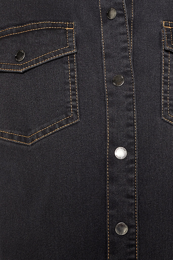 Denim dress with contrast stitching, GREY DARK WASHED, detail image number 5