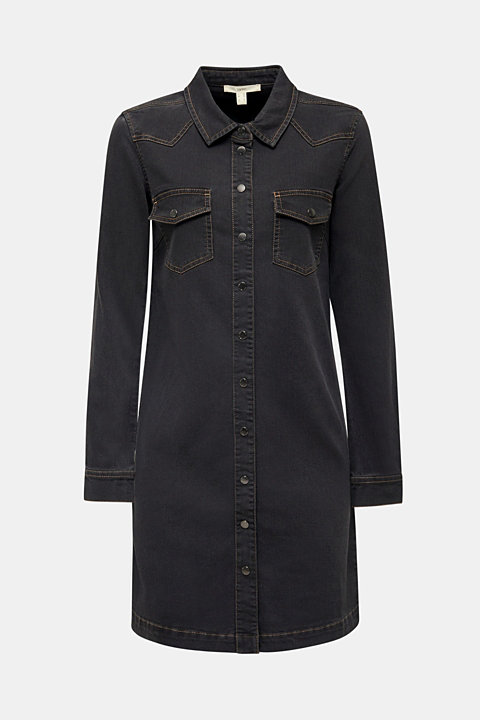 Denim dress with contrast stitching