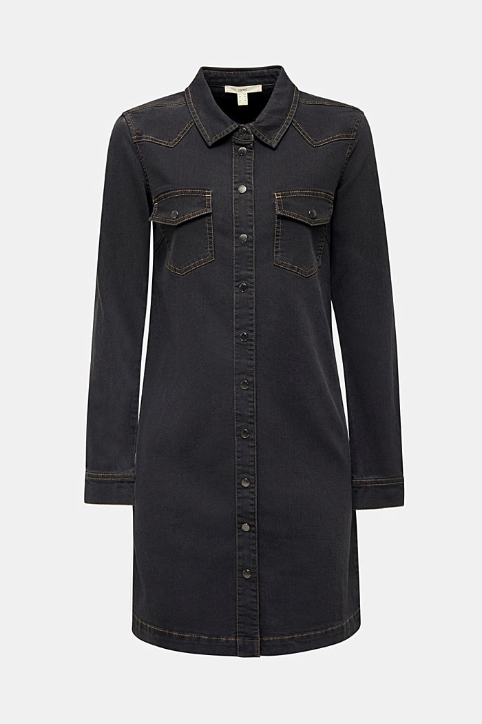 Denim dress with contrast stitching, GREY DARK WASHED, detail image number 8