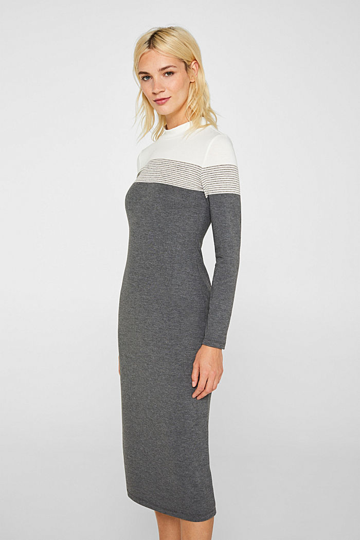 Jersey dress with a stand-up collar