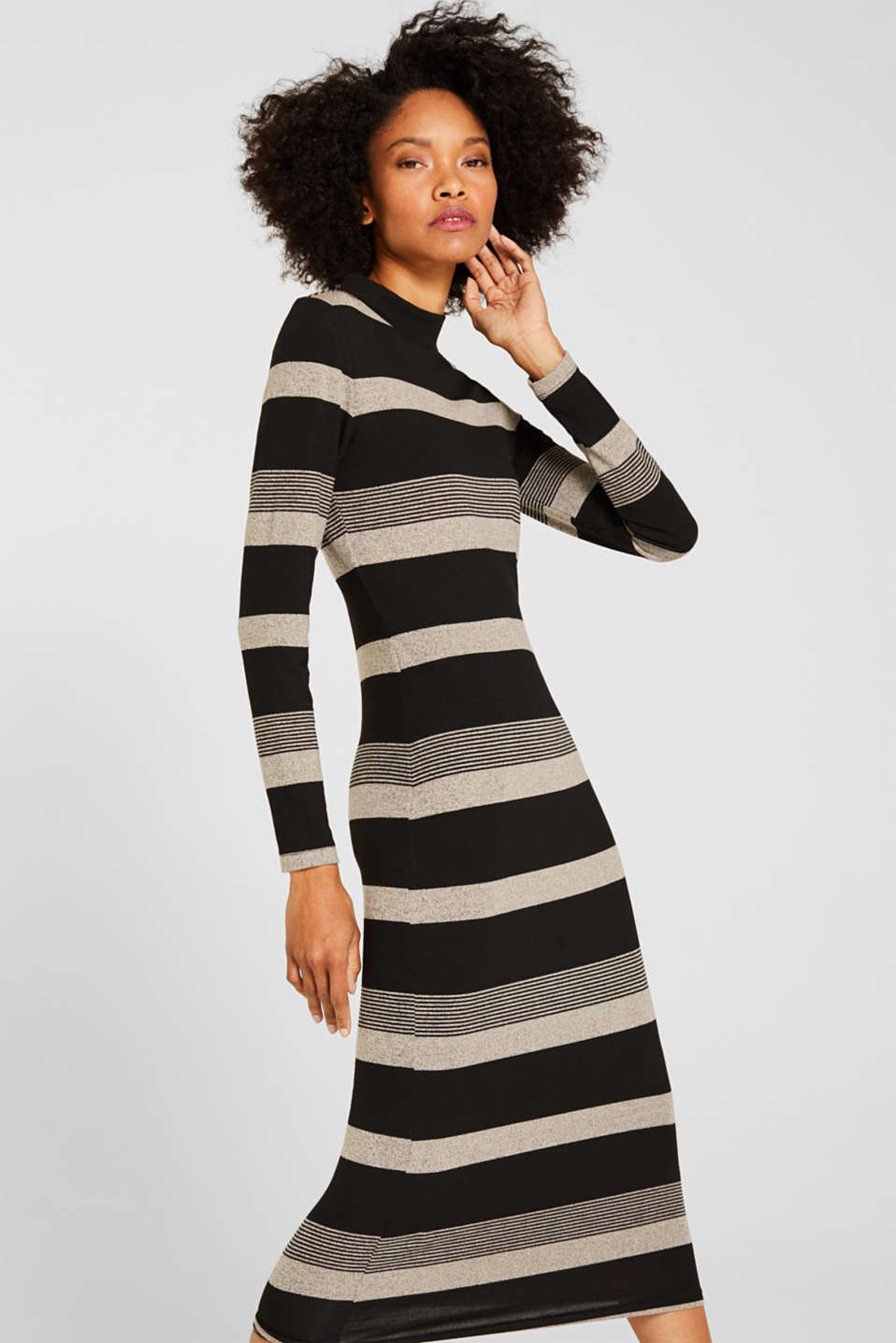 Striped midi dress made of jersey, BLACK, detail image number 0
