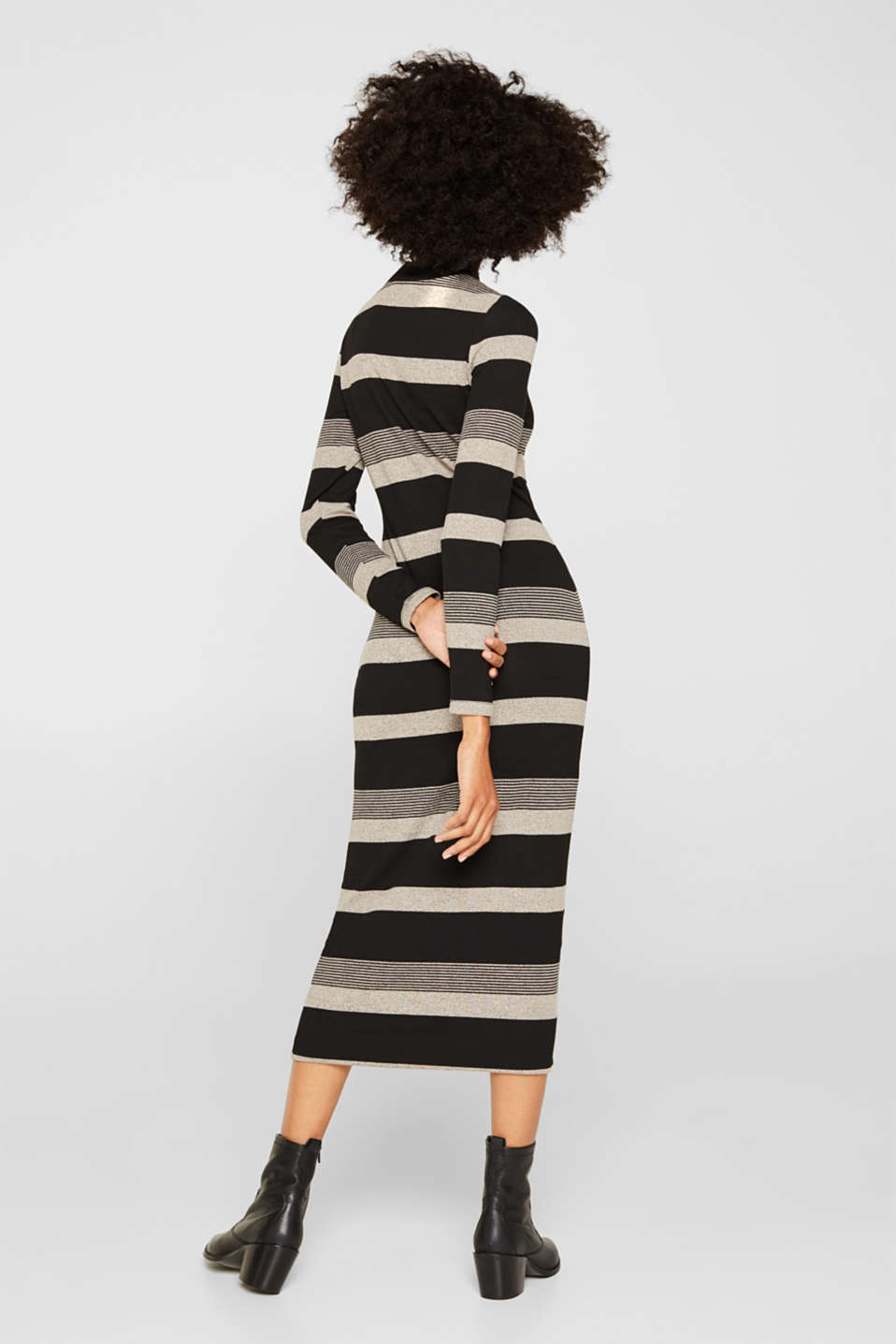 Striped midi dress made of jersey, BLACK, detail image number 2