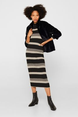 Striped midi dress made of jersey, BLACK, detail
