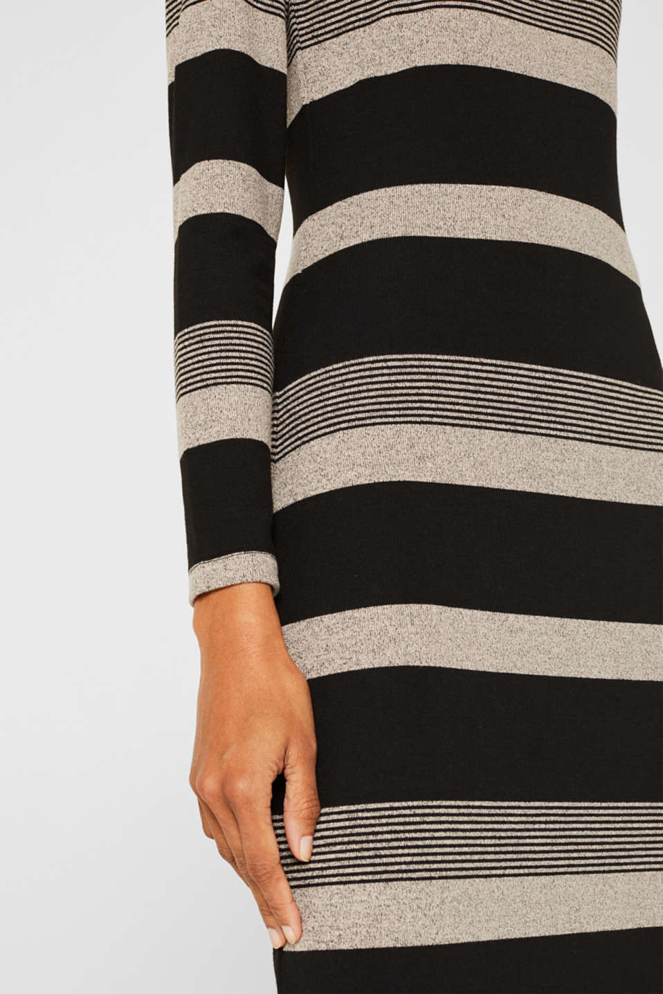 Striped midi dress made of jersey, BLACK, detail image number 3