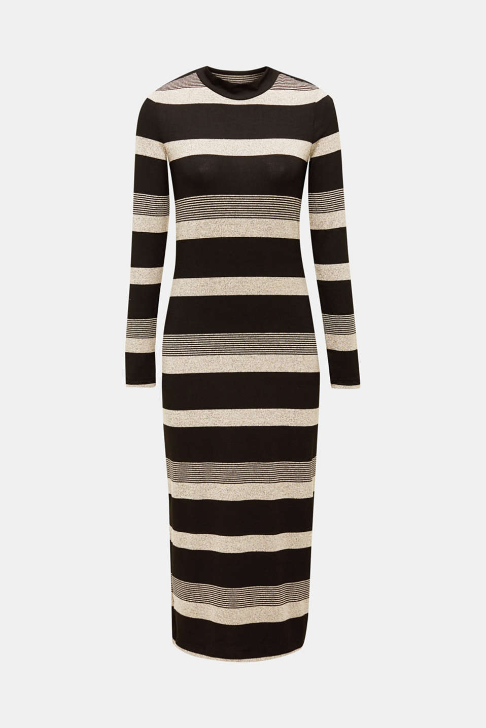 Striped midi dress made of jersey, BLACK, detail image number 5