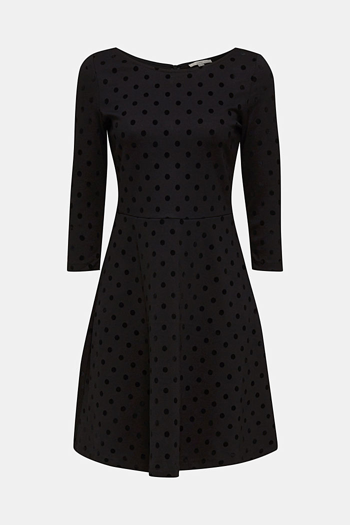 Stretch jersey dress with velvet polka dots