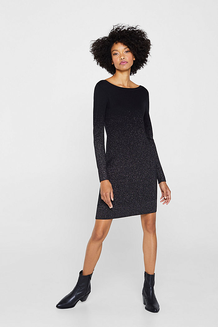 Knit dress with glitter gradation, BLACK, detail image number 0