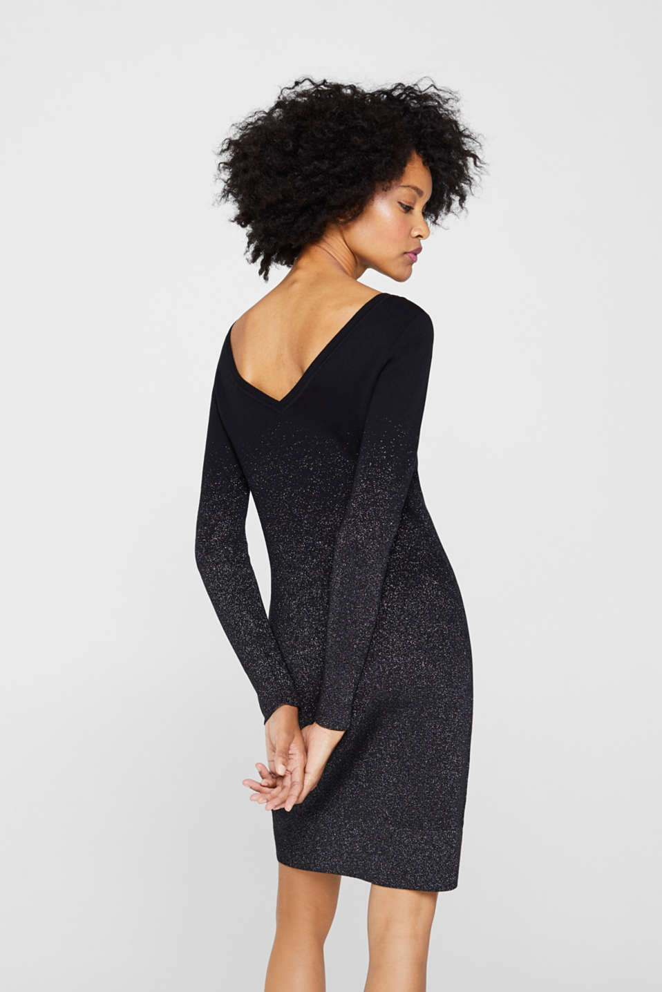 Knit dress with glitter gradation, BLACK, detail image number 2