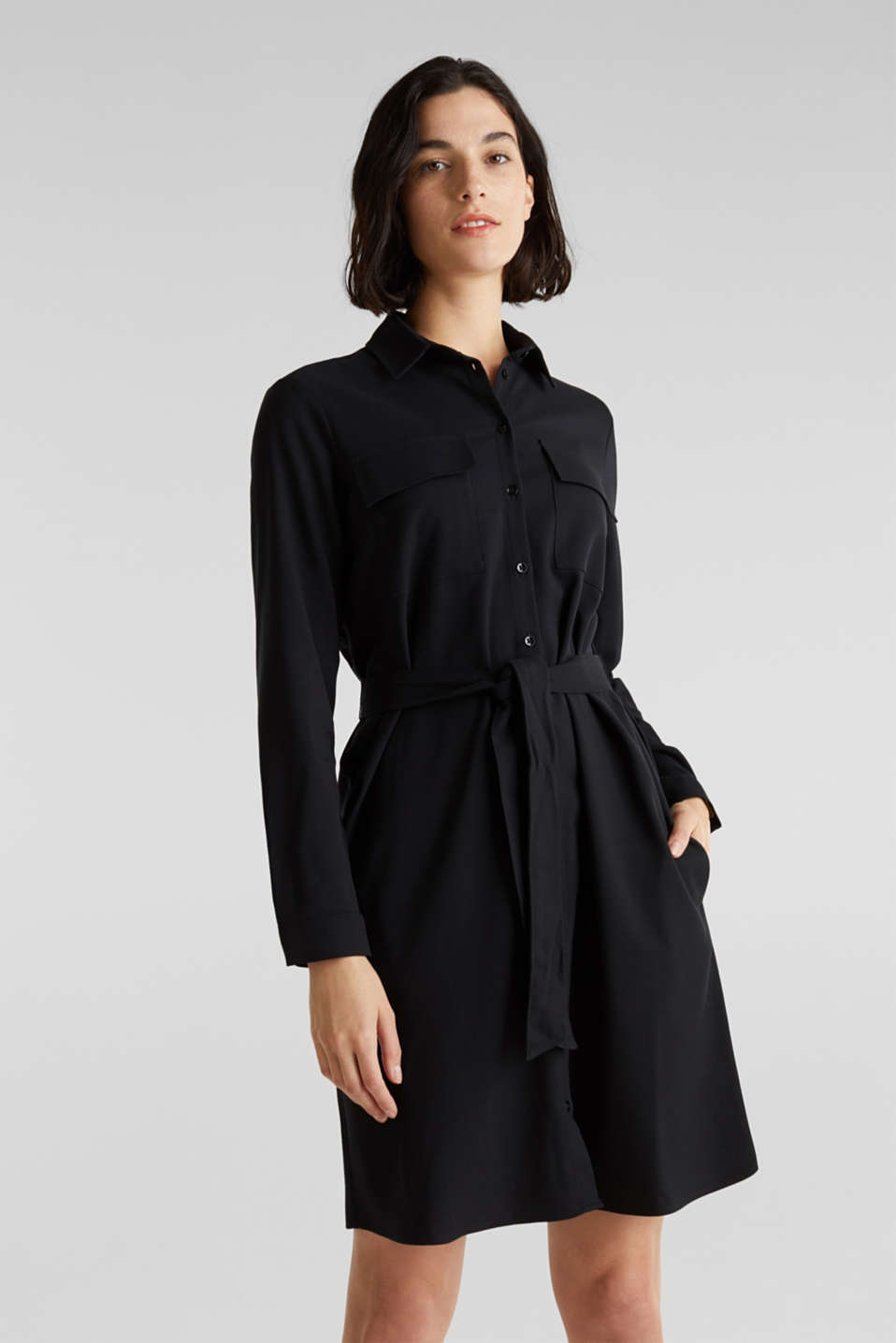 Shirt blouse dress with a finely ribbed texture, BLACK, detail image number 0