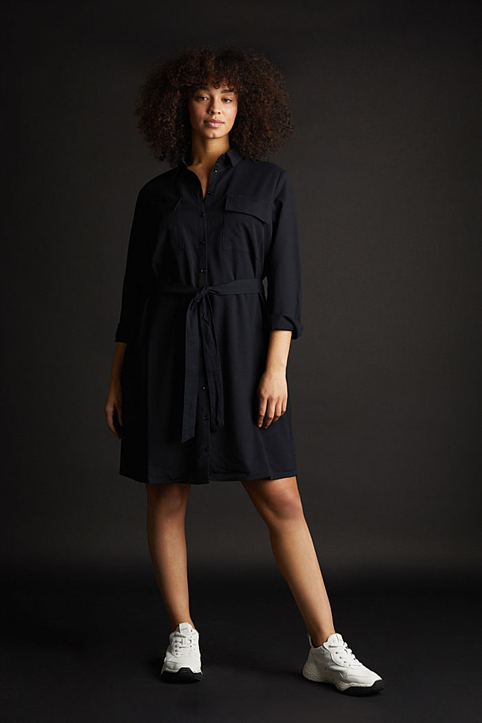 Shirt blouse dress with a finely ribbed texture