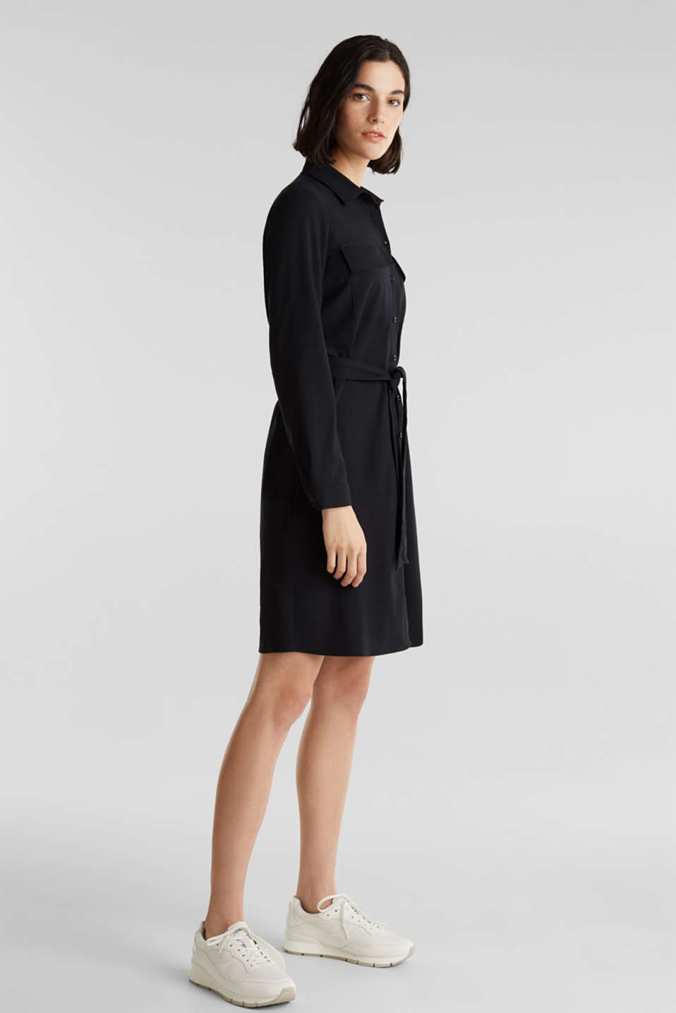Shirt blouse dress with a finely ribbed texture, BLACK, detail image number 1
