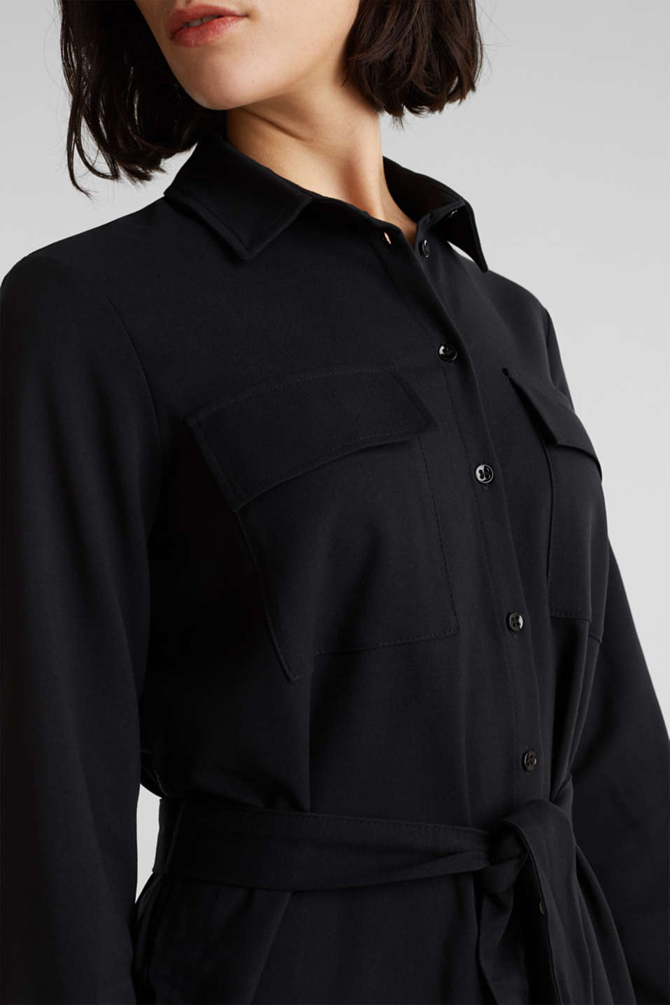 Shirt blouse dress with a finely ribbed texture, BLACK, detail image number 2
