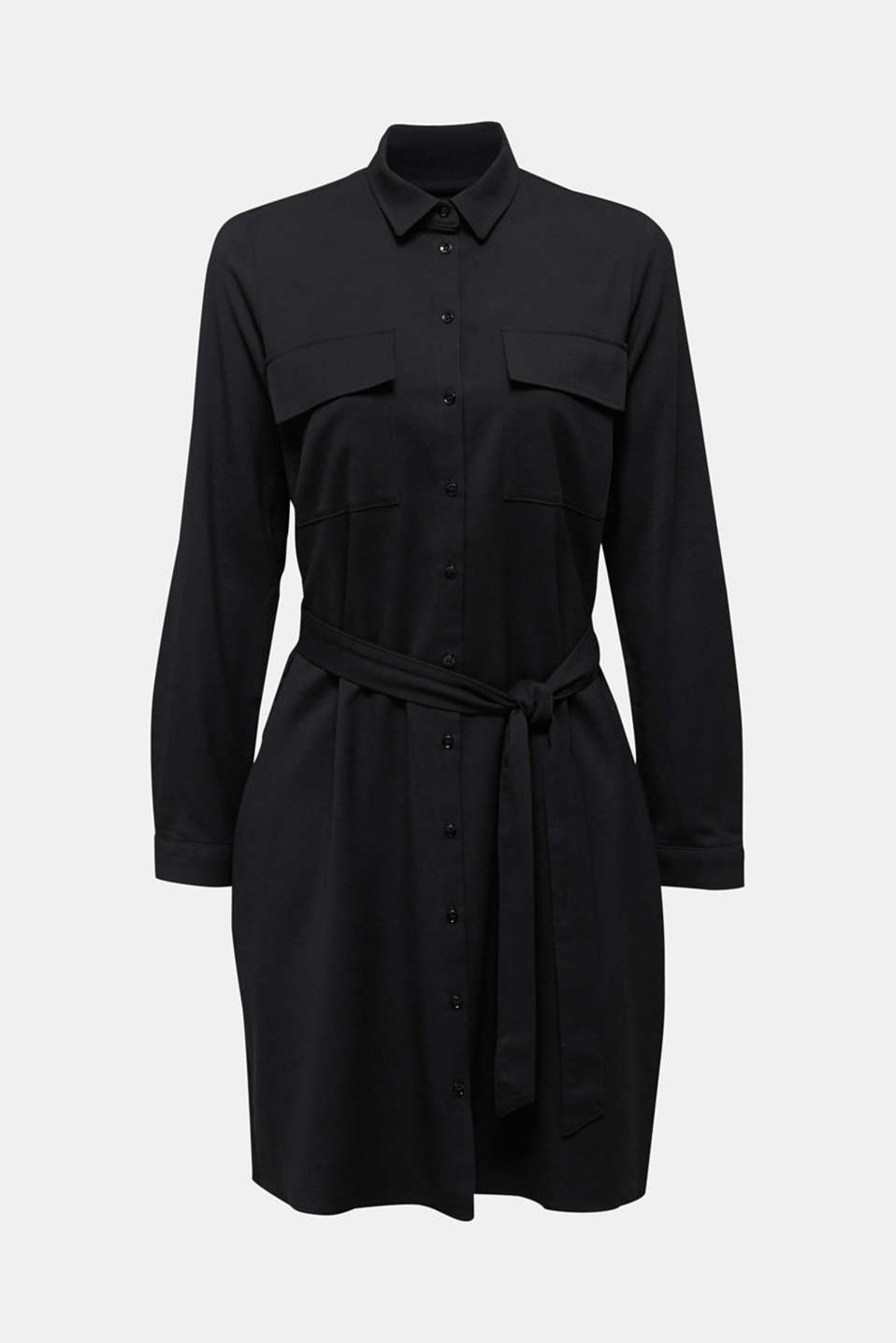Shirt blouse dress with a finely ribbed texture, BLACK, detail image number 6
