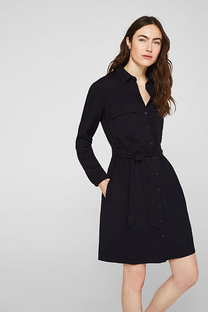 Hemdblusen-Kleid mit feiner Ripp-Struktur