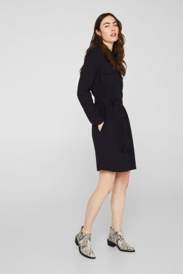 Shirt blouse dress with a finely ribbed texture, NAVY, detail