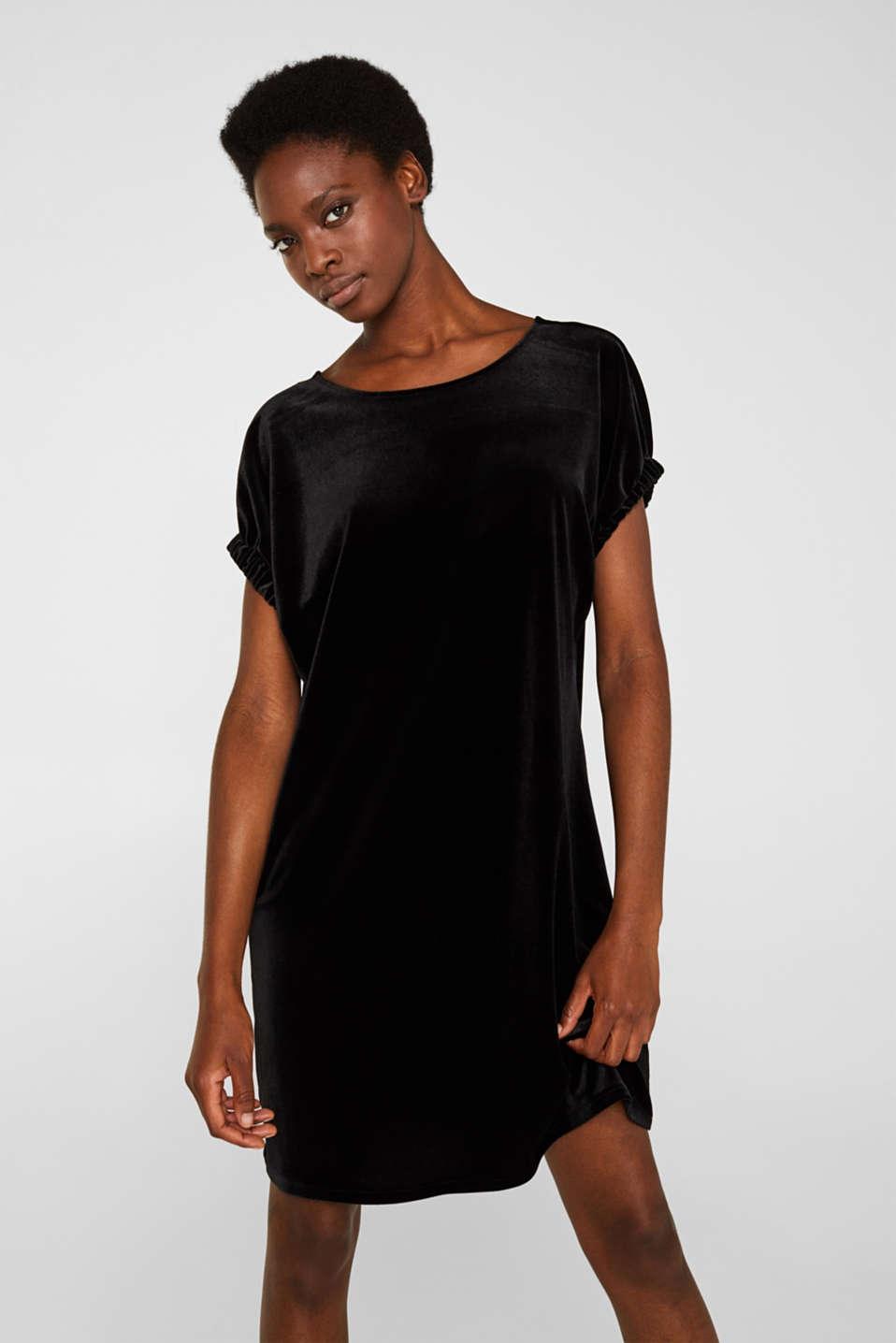 Velvet dress with stretch and a V-neckline, BLACK, detail image number 0