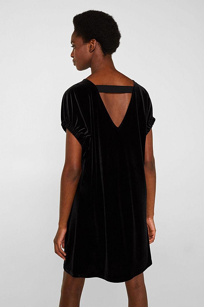 Samt-Kleid mit Stretch und V-Ausschnitt, BLACK, detail image number 3