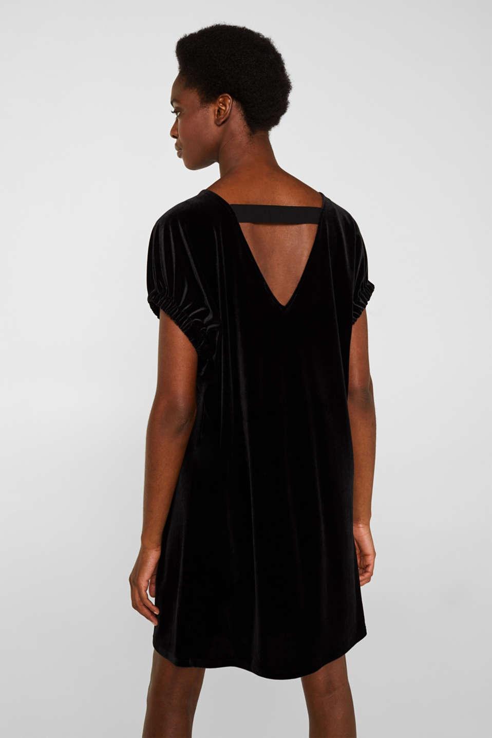 Velvet dress with stretch and a V-neckline, BLACK, detail image number 3