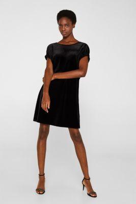 Velvet dress with stretch and a V-neckline, BLACK, detail