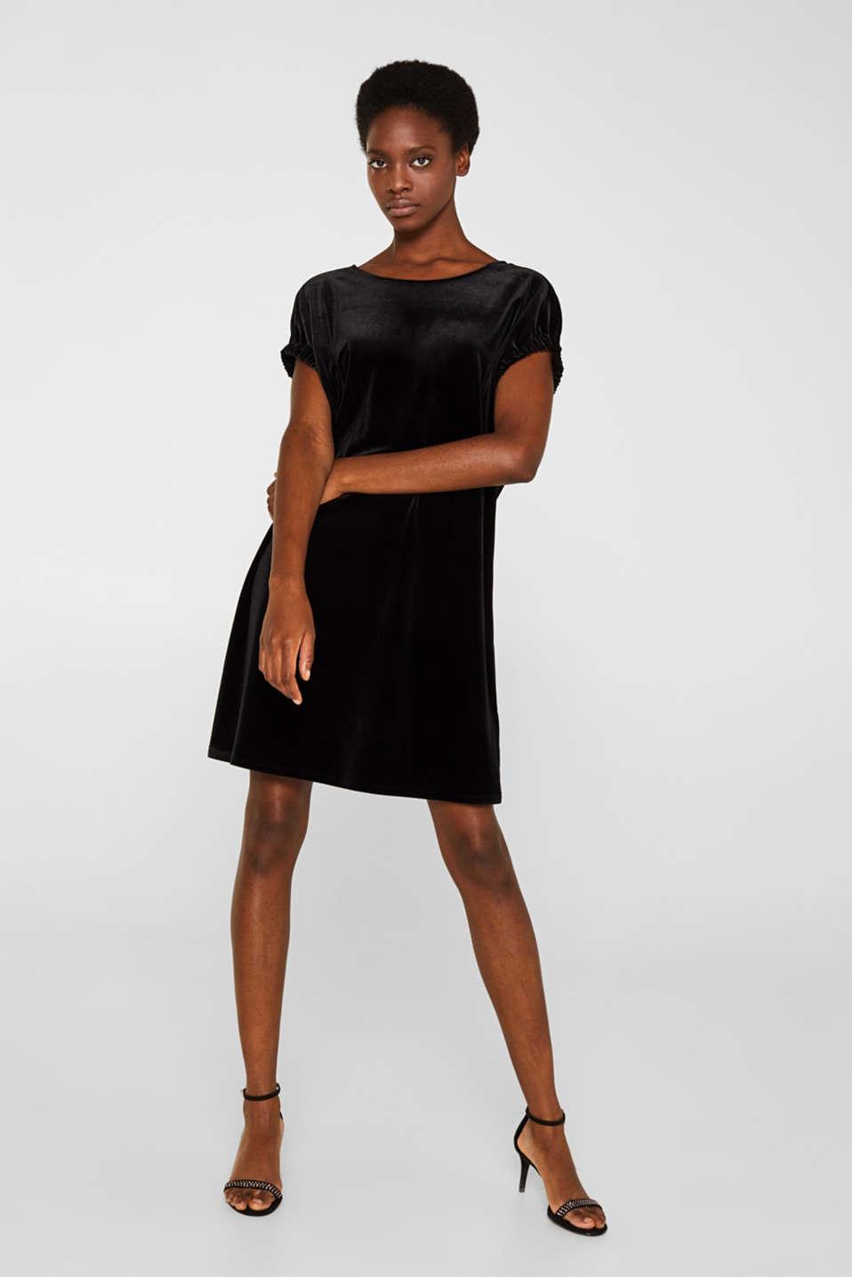 Velvet dress with stretch and a V-neckline, BLACK, detail image number 1