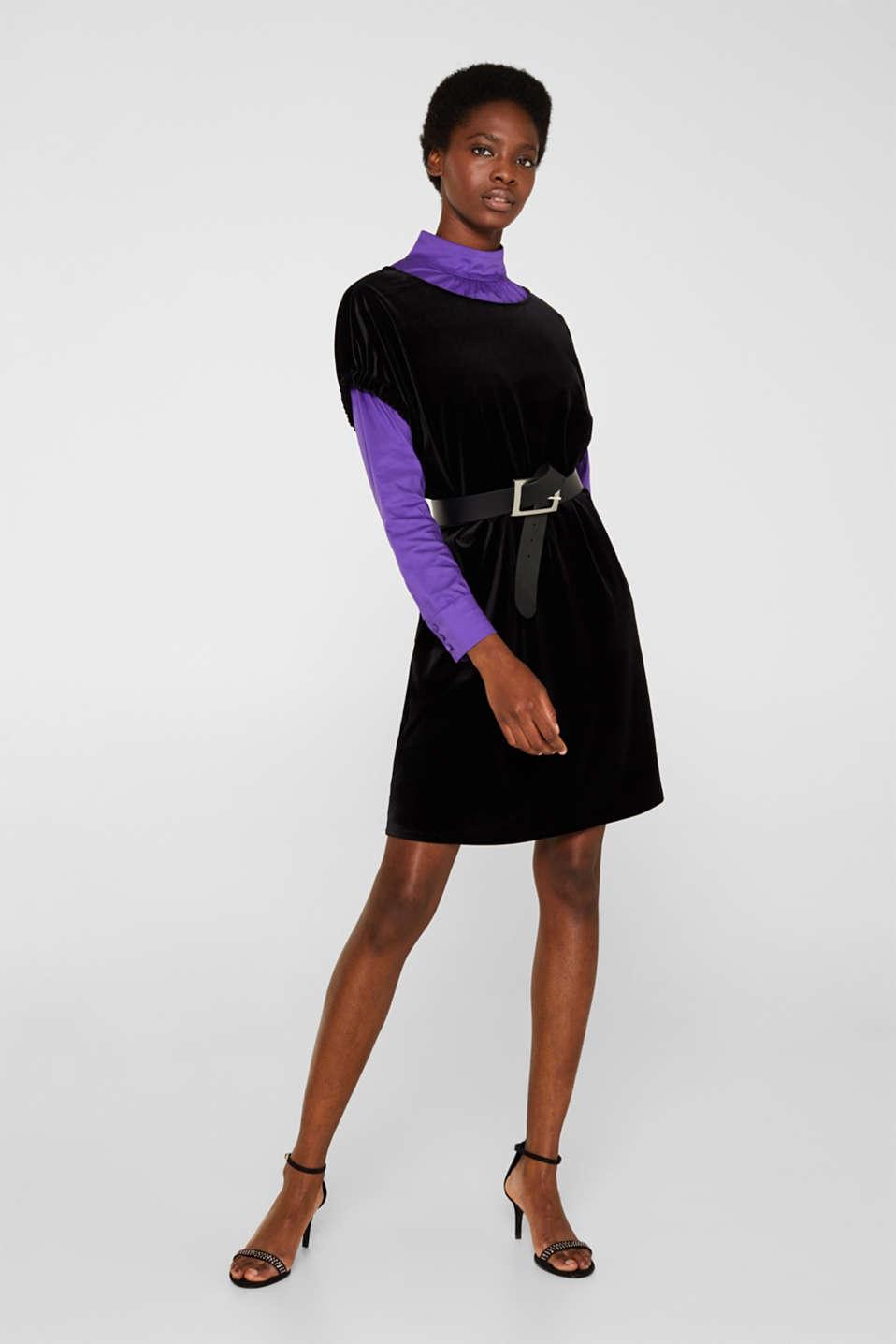 Velvet dress with stretch and a V-neckline, BLACK, detail image number 5