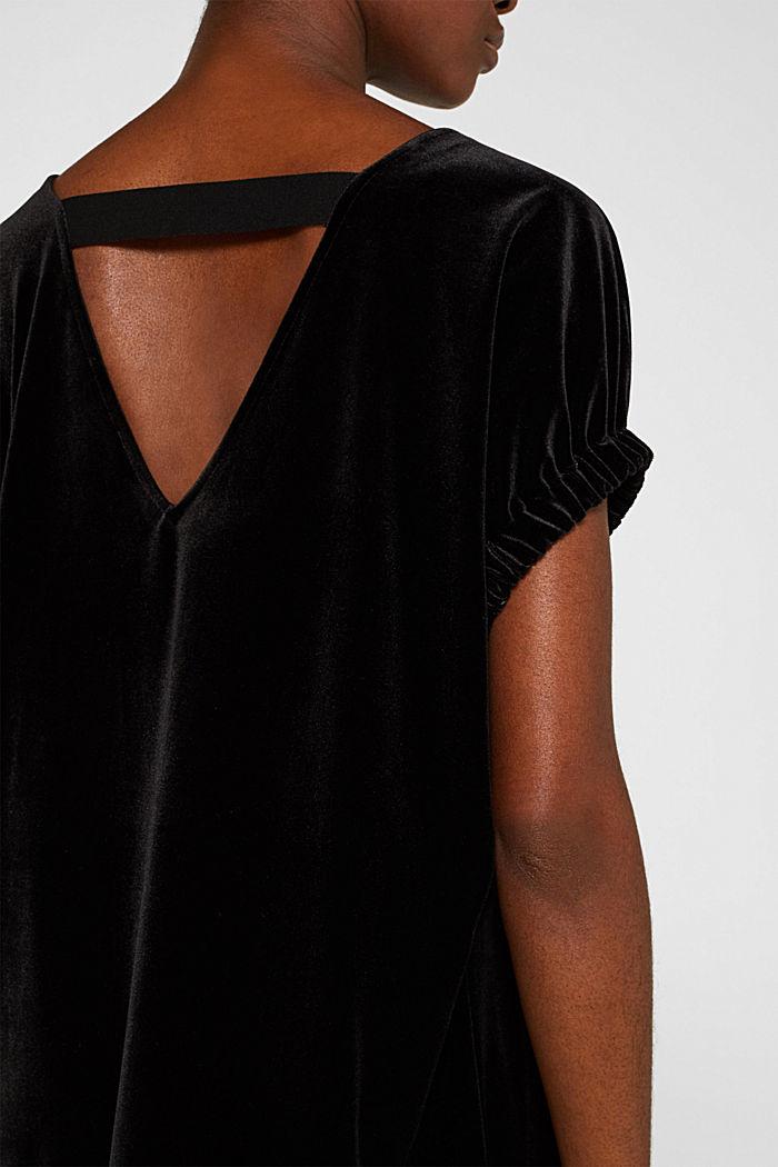 Samt-Kleid mit Stretch und V-Ausschnitt, BLACK, detail image number 2